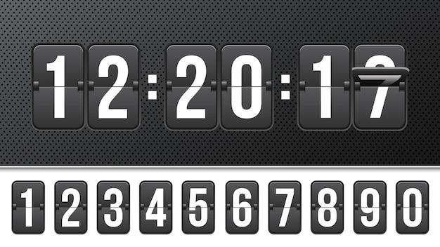 Conto alla rovescia con numeri, contatore dell'orologio.