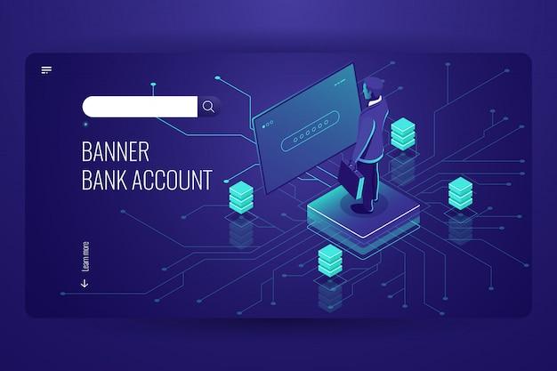 Conto bancario, servizio di contabilità online, processo di accesso ai dati, intelligenza artificiale