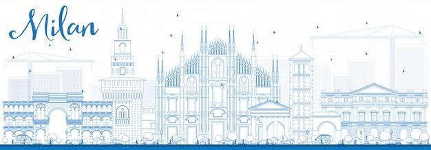 Contorni milano skyline con punti di riferimento blu.