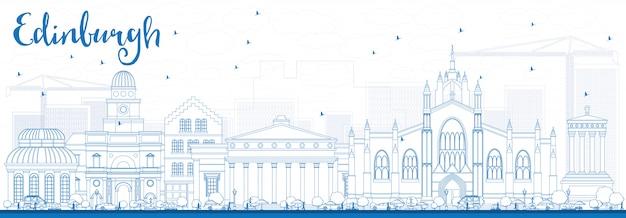 Contorni skyline di edimburgo con edifici blu.