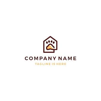 Contorno casa monoline home paw icon logo template illustrazione vettoriale