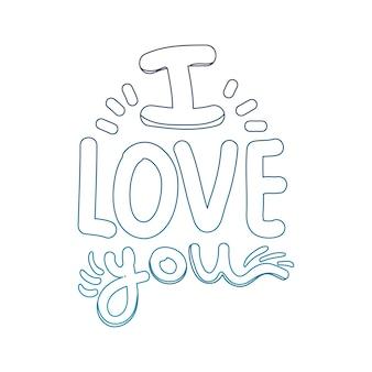 Contorno degradato ti amo messaggio romantico stile
