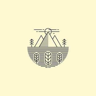 Contorno del logo della montagna