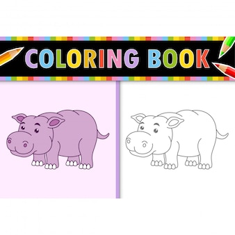 Contorno della pagina da colorare di ippopotamo cartone animato. illustrazione colorata, libro da colorare per bambini.