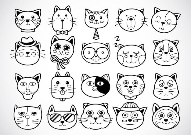 Contorno di facce di gatto carino