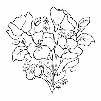 Contorno di fiori. disegno floreale.