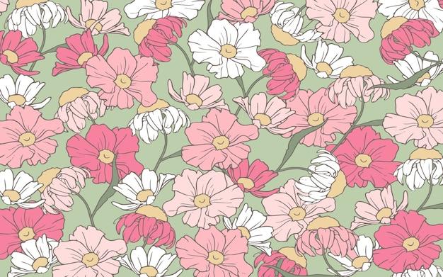 Contorno disegnato a mano fiori rosa e bianchi sullo sfondo