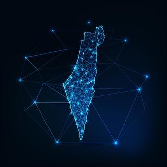 Contorno mappa israele con stelle e linee quadro astratto. comunicazione, connessione