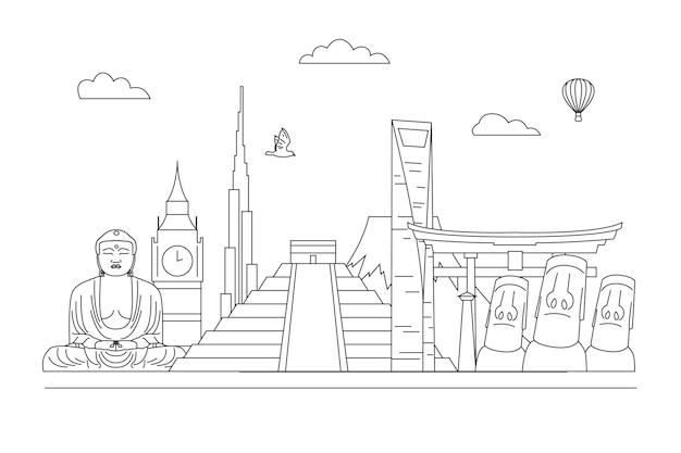 Contorno skyline di punti di riferimento