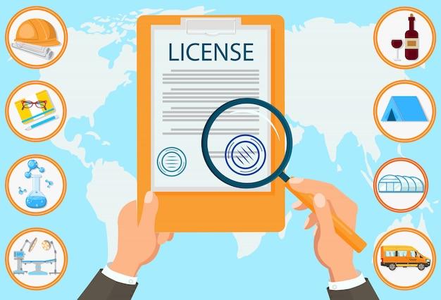 Contratto dei documenti certificati della ditta di diritto di licenza.