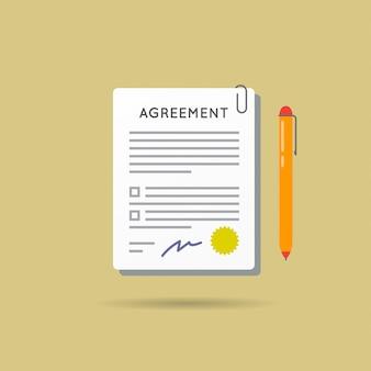 Contratto di accordo e penna con firma