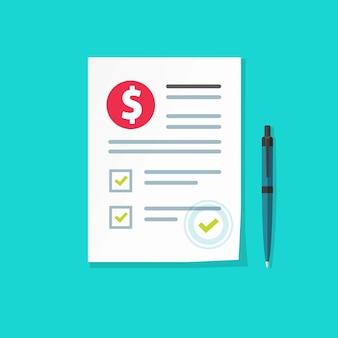 Contratto di contratto di denaro o documento finanziario con illustrazione di segni di spunta, documento di audit cartaceo del fumetto o lista di controllo del modulo fiscale e penna, prestito o credito approvato, affare in contanti