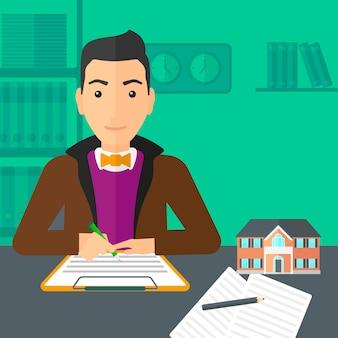 Contratto di firma dell'agente immobiliare.