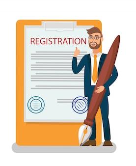 Contratto di iscrizione, illustrazione piatta del certificato