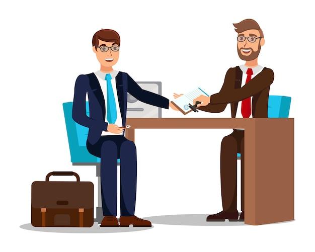 Contratto di lavoro che firma il lavoratore