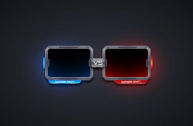 Contro il modello di cornice dello schermo, battaglia, sport, gioco, lotta. illusutrazione futuristica.
