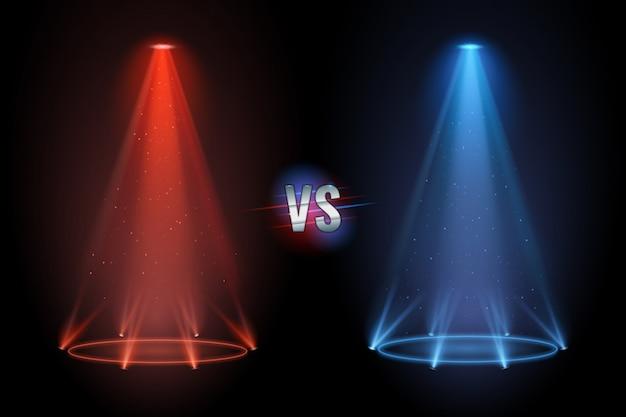 Contro la pavimentazione. proiettore di battaglia che brilla sul pavimento del piedistallo per una partita di confronto di boxe.