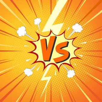 Contro lettere vs combattono nel design in stile fumetto piatto con mezzetinte, fulmini. illustrazione vettoriale