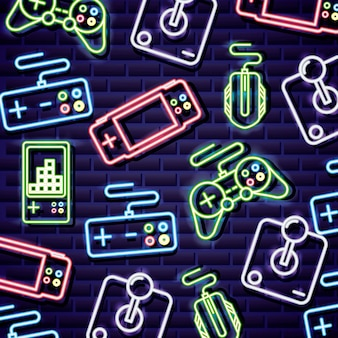 Controlli di videogiochi in stile neon sul muro di mattoni