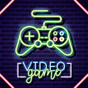 Controllo classico, videogioco neon stile lineare