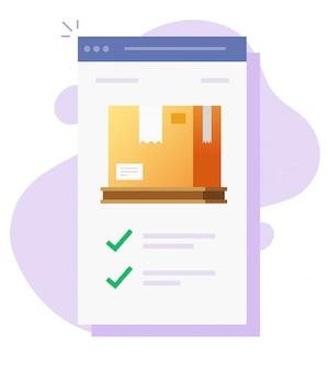 Controllo dei pacchi postali di merci cargo e tracciamento online sull'applicazione web mobile