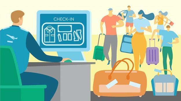 Controllo del bagaglio di sicurezza aeroportuale, gente che corre per controllare il contatore, illustrazione