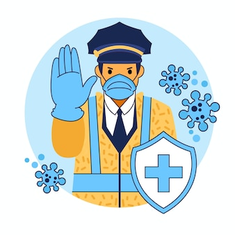 Controllo del coronavirus della polizia