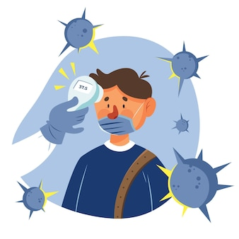 Controllo della temperatura corporea uomo circondato da virus