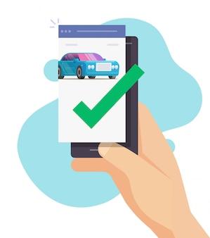 Controllo di sicurezza del segno di spunta approvato dal telefono cellulare del veicolo