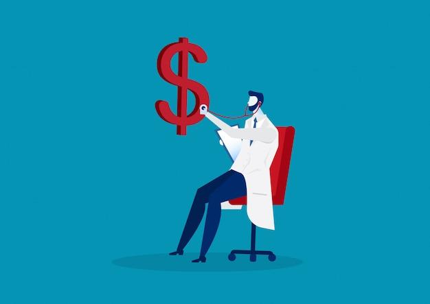 Controllo sanitario del dollaro di medico di affari con lo stetoscopio