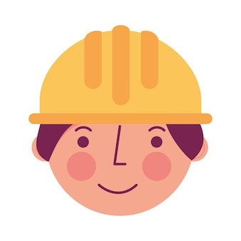 Contruction dell'operaio nel carattere del fronte dell'elmetto protettivo