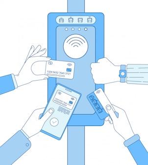 Convalida del biglietto. schede dei biglietti della metropolitana rfid sulla mano dello smartphone. tecnologia dell'aeroporto dell'entrata di sicurezza del cancello girevole. concetto di linea