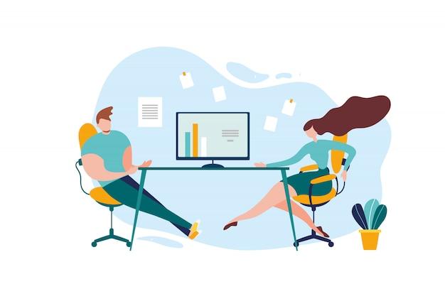 Conversazione della tabella dell'ufficio del lavoratore della donna dell'uomo del fumetto