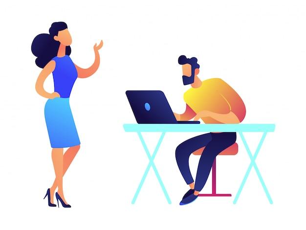 Conversazione ed uomo d'affari della donna di affari che lavorano all'illustrazione di vettore del computer portatile.