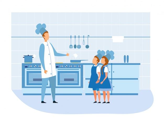 Cook chef elogia i bambini in uniforme in cucina