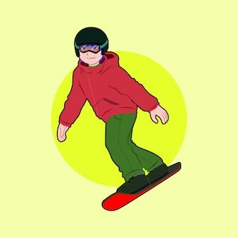 Cool boy snowboaarding illustration