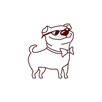 Cool cane pug con vetri di sole illustrazione vettoriale