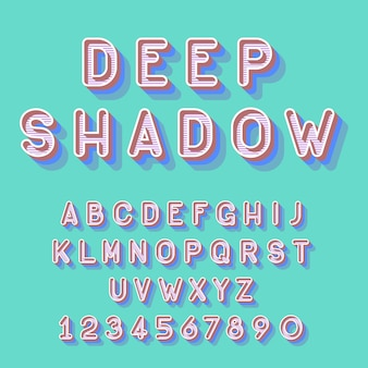 Cool carattere isometrico profondo, numeri di lettere dell'alfabeto