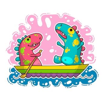 Cool dino doodle illustrazione