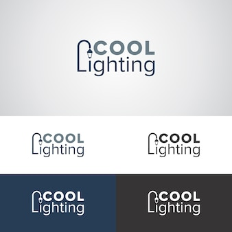 Cool lighting logo design template