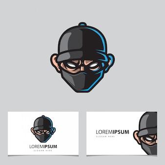 Cool man head mascot logo