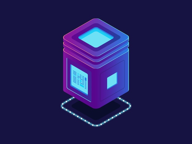 Cool neon server, unità di elaborazione, database di archiviazione cloud