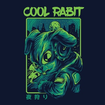 Cool rabbit remastered illustration