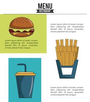Coperchio del menu del ristorante con informazioni