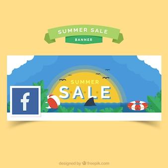 Coperchio di facebook con il tramonto di estate