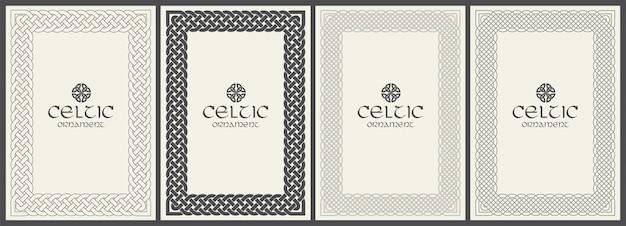 Coperchio intrecciato con nodo celtico con bordo ornamentale. formato a4