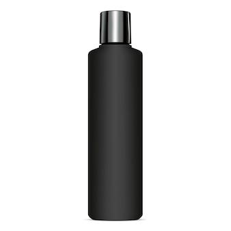 Coperchio lucido per bottiglia di shampoo cosmetico nero.