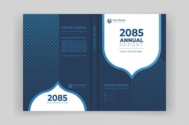 Copertina anteriore e posteriore del libro per il rapporto annuale con forme geometriche