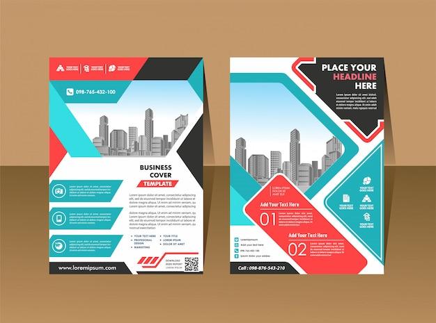 Copertina brochure flyer in a4 con geometrica colorata