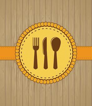 Copertina del menu con icone kithchen in stile retrò